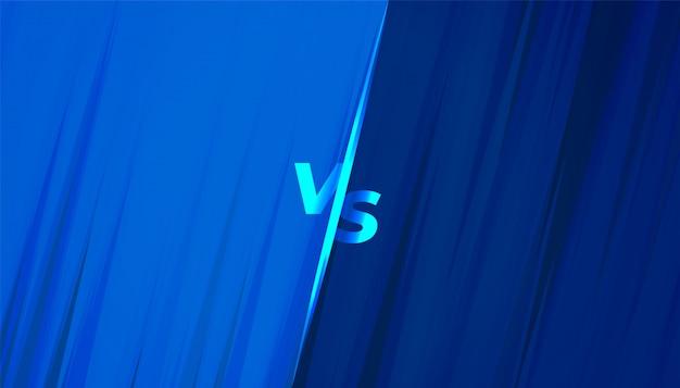 Banner azul versus vs para competição e desafio