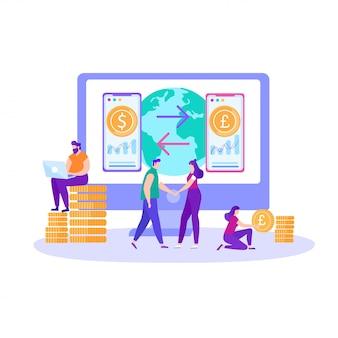 Banner bancário on-line de transferência de dinheiro internacional
