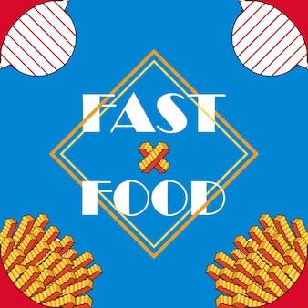 Banner batatas fritas retrô