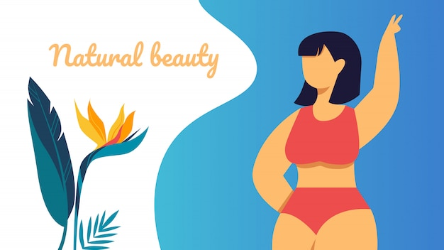 Banner beleza natural, feliz plus size menina asiática