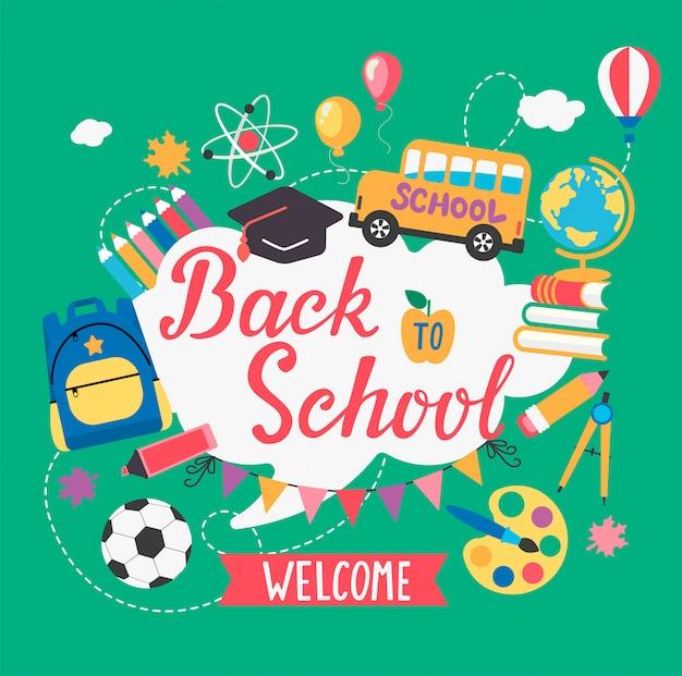 Banner bem-vindo de volta à escola