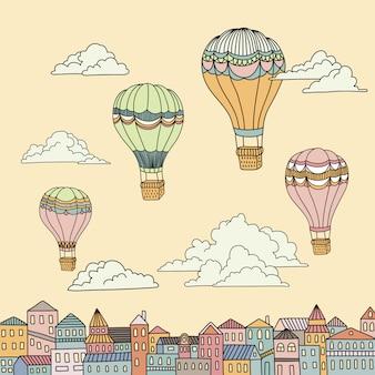 Banner bonito com balões de ar quente, casas e nuvens