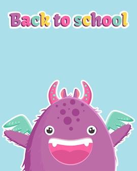 Banner bonito com um monstrinho roxo e texto colorido de volta às aulas. modelo em fundo azul.