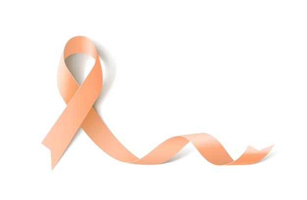 Banner branco com fita realista de conscientização sobre o câncer uterino