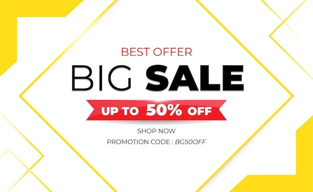 Banner branco moderno de grande venda com código promocional