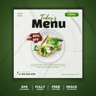 Banner branco verde de panfleto de mídia social do menu de hoje