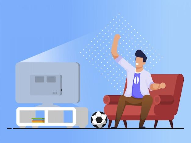 Banner brilhante assistindo jogo de futebol