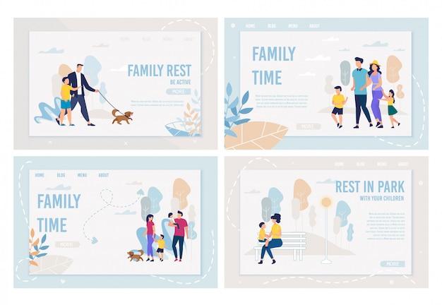 Banner brilhante conjunto inscrição tempo para a família, plana.