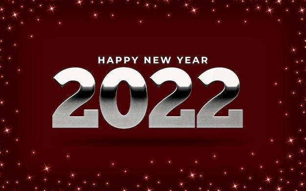 Banner brilhante de feliz ano novo de 2022 com estrelas
