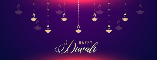Banner brilhante de feliz diwali com decoração diya