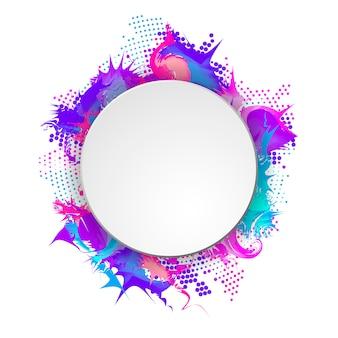 Banner brilhante e colorido com moldura redonda. meio-tom abstrato