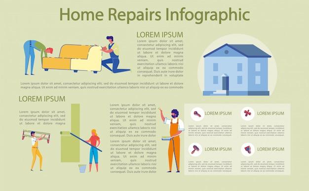Banner brilhante escrito reparo doméstico, infográfico.