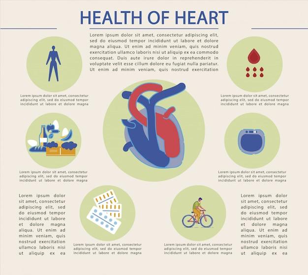 Banner brilhante escrito saúde do coração, infográfico