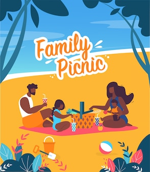 Banner brilhante família piquenique desenhos animados da rotulação