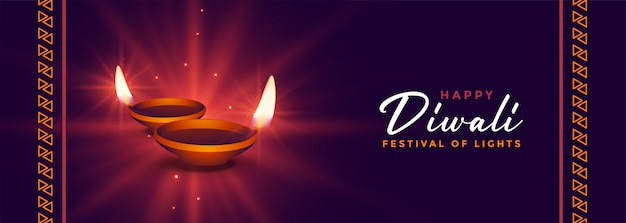 Banner brilhante festival indiano feliz diwali