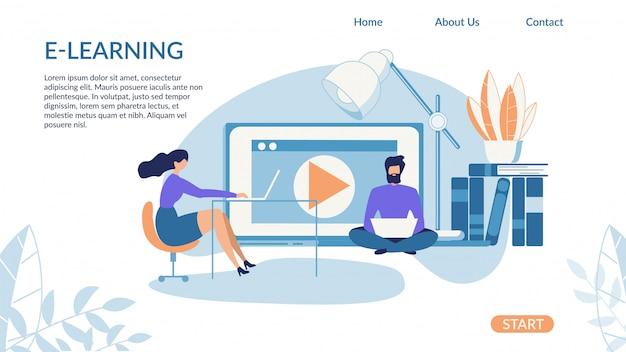 Banner brilhante inscrição e-learning cartoon