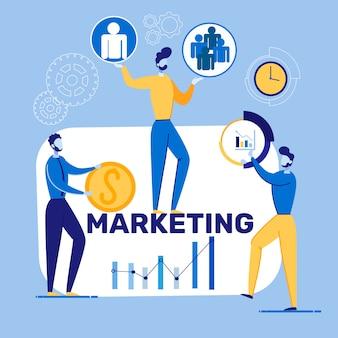 Banner brilhante inscrição marketing cartoon plana.