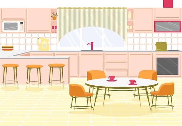 Banner brilhante interior cozinha moderna espaçosa.