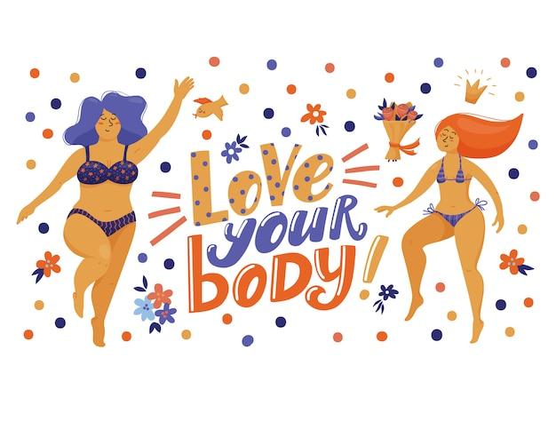 Banner, cartão postal com letras love your body e mulheres muito engraçadas em biquíni