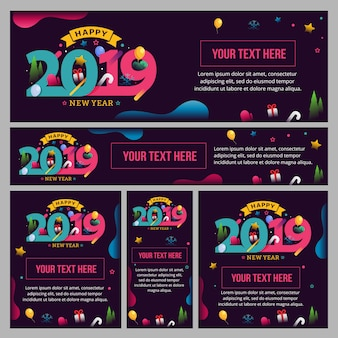 Banner, cartaz e modelo conjunto decorado com número da moda para celebração de ano novo de 2019