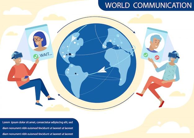 Banner cartoon texto anuncie comunicação mundial