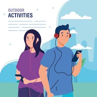 Banner, casal realizando atividades de lazer ao ar livre, casal usando fones de ouvido e smartphones design ilustração