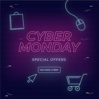 Banner cibernético de segunda feira com design plano