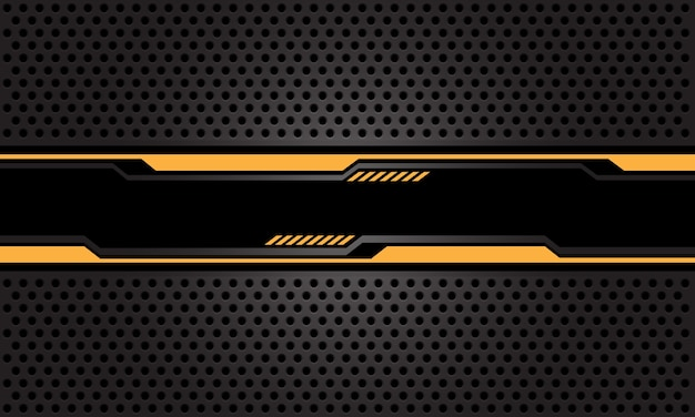 Banner cibernético preto azul abstrato em fundo de tecnologia futurista de padrão de malha de círculo cinza escuro.