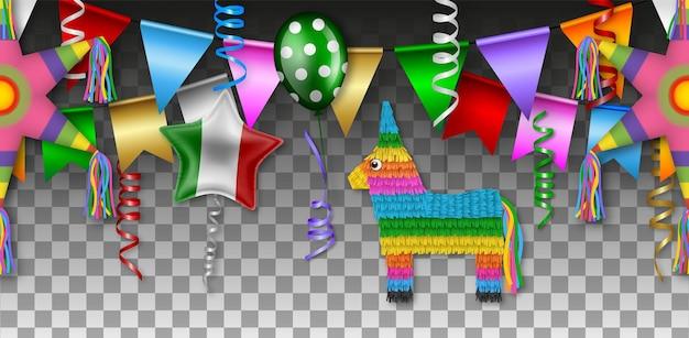 Banner cinco de mayo com pinatas, flâmulas, flâmulas e balões