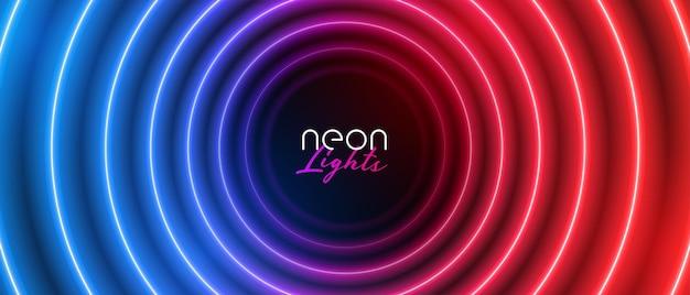 Banner circular de néon retrô com luz azul e vermelha