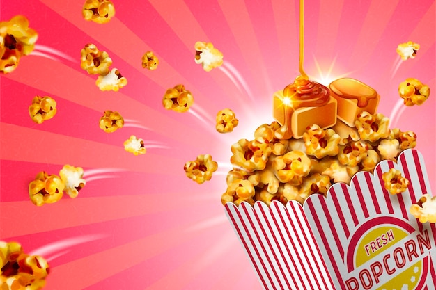 Banner clássico de pipoca caramelo em recipiente de papel listrado, ilustração 3d