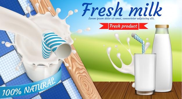 Banner colorido com garrafa de leite e copo cheio de bebida láctea fresca com canudo