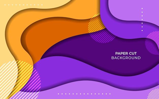 Banner colorido com ondas de corte de papel abstratas