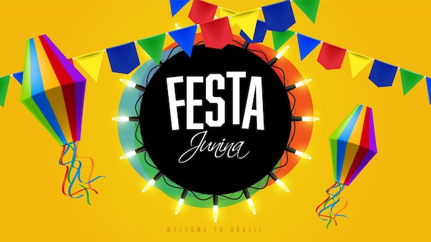 Banner colorido da festa junina com guirlandas
