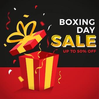 Banner colorido da venda do dia de boxe