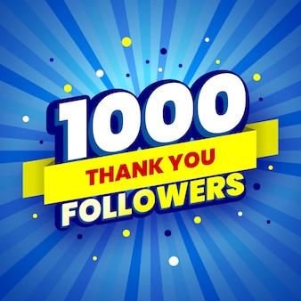 Banner colorido de 1000 seguidores com fita amarela