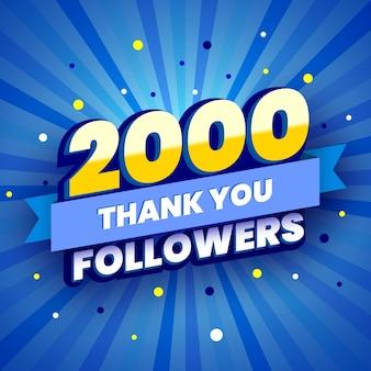 Banner colorido de 2.000 seguidores