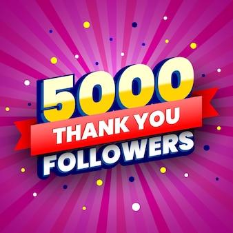 Banner colorido de 5.000 seguidores com fita vermelha