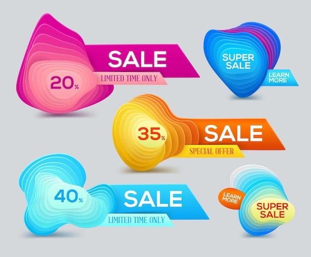 Banner colorido de formas gradientes para super venda, desconto e oferta especial da temporada.