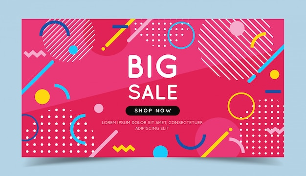 Banner colorido de grande venda com elementos geométricos abstratos na moda e fundo brilhante.
