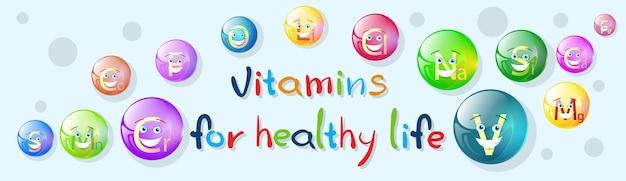 Banner colorido de minerais nutrientes de vitaminas
