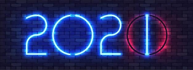 Banner colorido de néon de feliz ano novo de 2021