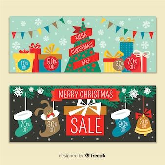 Banner colorido de venda de natal