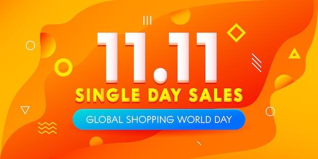 Banner colorido de venda do dia mundial de compras globais com decoração geométrica