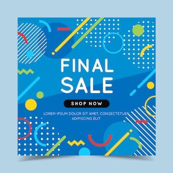 Banner colorido de venda final com elementos geométricos abstratos na moda e brilhante.