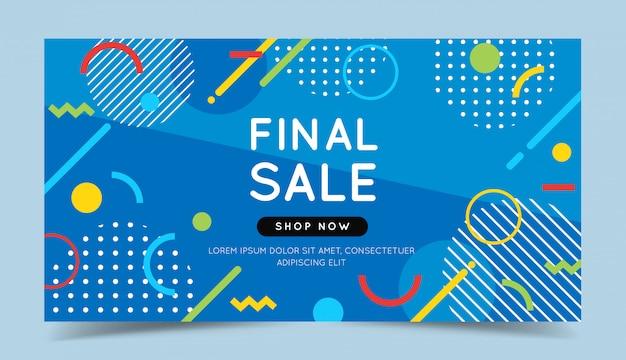 Banner colorido de venda final com elementos geométricos abstratos na moda e fundo brilhante.