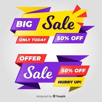 Banner colorido de vendas definido. grande oferta venda desconto