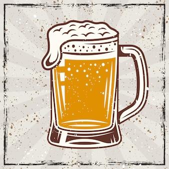 Banner colorido de vetor vintage de caneca de cerveja com texturas grunge e arranhões