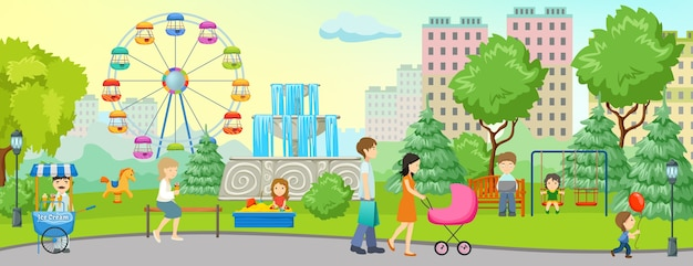 Banner colorido do parque da cidade com local para caminhar pela floresta e casas próximas