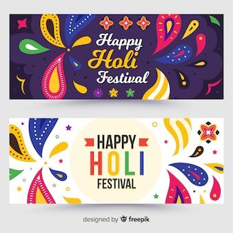 Banner colorido festival de holi